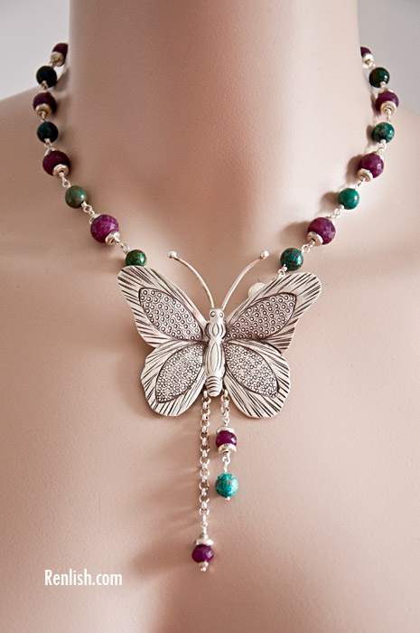 Turquoise & Ruby Butterfly - Renlish.com