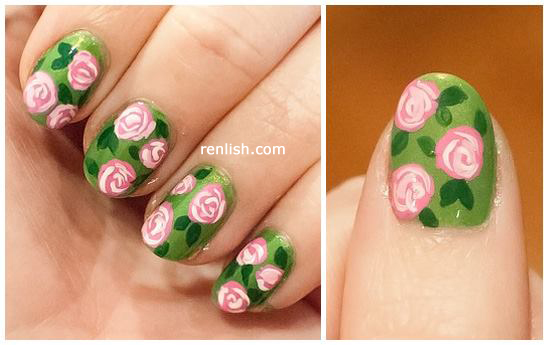 Renlish.com - Rose Garden Nails (Mini tutorial)