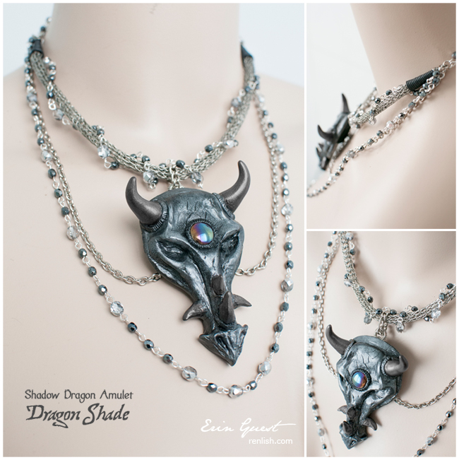 Renlish.com - Polymer Clay - Dragon Shade Amulet